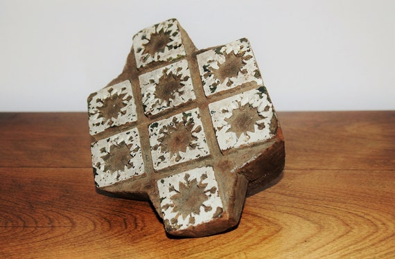 Wood textile stamp geometric hand carved wooden fabric