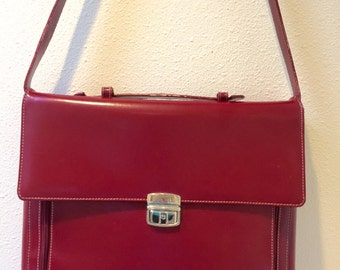 Wilson's Pelle Studio Red Leather Top Handle / Shoulder Carry / Briefcase / Tote / Messenger Case