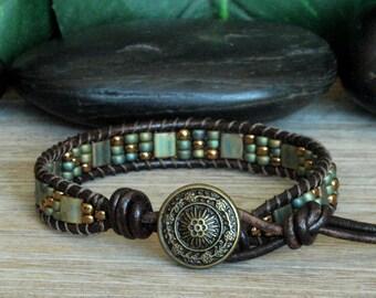 Metallic Patina Tila Beaded Leather Bracelet, Bohemian Stacking Jewelry