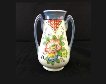Hand Painted Floral Porcelain Bud Vase with Handles, Blue Hat Pin Holder, Dressing Table, Flowers Bud Vase Handled, Hand Painted, Japan