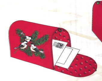 Cranston Christmas Mailbox, Finches Cut & Sew Folk Art Card Holder, Victorian Keepsake Craft Pattern, Fabric Panel