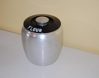 Vintage Kromex Spun Aluminum Flour Canister