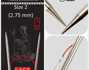 US 2 (2.75mm) Chiaogoo Red Lace Circulars - Choice of Length