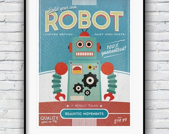 Robot Print, Retro Poster, Boys Room Decor, Nursery Wall Art, Vintage Poster, Retro Robot Print, Toy Robot Poster