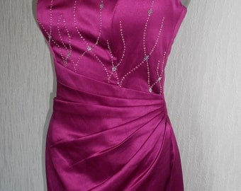 SALE - ladies prom special occasion satin diamante trimmed bridesmaid ballgown front size uk-10-usa size-6