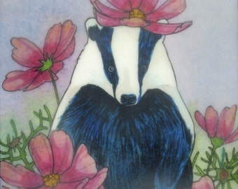 Badger's Garden - limited edition print of original mixed media painting