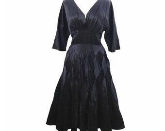 1950s black satin vintage party dress