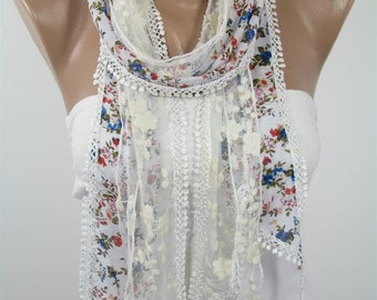 Lace Scarf Floral Scarf Spring Fashion Scarf Summer Scarf Bohemian Women Scarf Mothers Day Gift For Mom Gift For Her Gift For Grandmothers