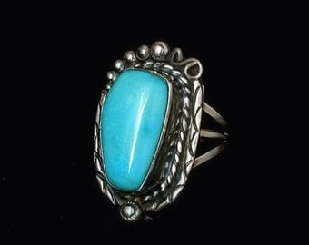 SIGNED Sleeping Beauty Turquoise Vintage Native American Ring Sterling Silver Large 11.5 Grams Size 6.5 Hallmarked c.1970s, Gift for Her