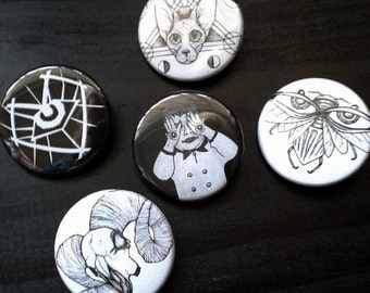 Badges | 35mm Eyebug, Sphynx, Demon Baby, Ram Skull, Epherial Eye | Epheria Punk Pin Button Badge Brooch
