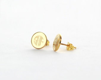 Engraved Monogram Earrings Studs | Gold or Silver Tone