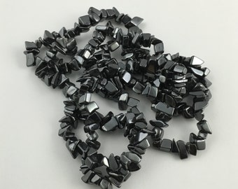 1 strand  34 inches of hematite chips stone beads #PP069