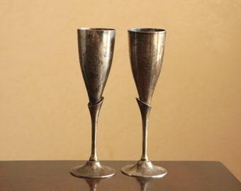 Set of two vintage silver plated champagne flutes / vintage bar or wedding decor
