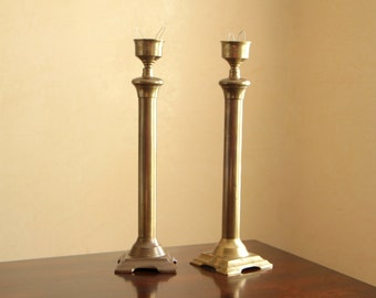 Vintage two brass candlesticks / set of two tall candle holders wedding decor