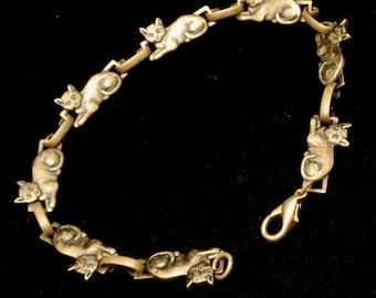 Cat Link Bracelet Vintage Brass Tone