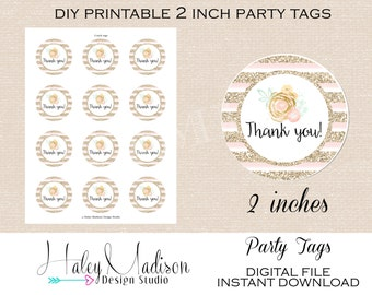 Bridal Shower, Thank you Tags DIGITAL FILE
