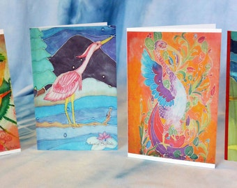4 pack Birds Greeting Cards Original Batik Artwork