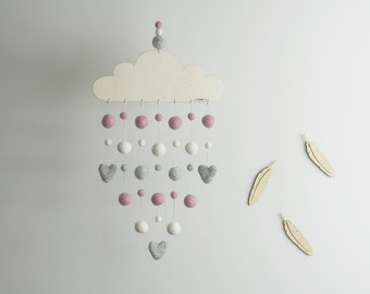 Cloud Felt Ball Mobile | Pink White Grey Felt Ball Mobile | Pink Nursery Mobile | Girl Baby Mobile | Baby Shower Gift | Lasercut Wood Mobile
