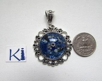 Orgone Pendant Cabochon Rose Quartz, Lapis Lazuli, Turquoise Resin
