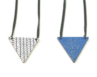 Hand painted triangle galaxy necklace Two sided necklace Long wooden necklace Black and white necklace Denver blue Geometric jewelry