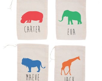Zoo Animals {set of 10} Personalized Party Favor Bags