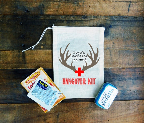 Rustic Mountains Bachelor Party Hangover Muslin Bags {set of 10} // Antler Hunting Bachelor Party Favor Bags