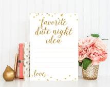 Favorite Date Night Idea - Bridal Shower Game, Date Night Suggestions, Bridal Shower Printable - Gold Confetti, Bridal Shower Decor - BRS1