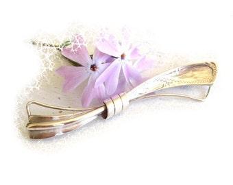 Brooch silver loop pin, antique brooch bow, silver pin