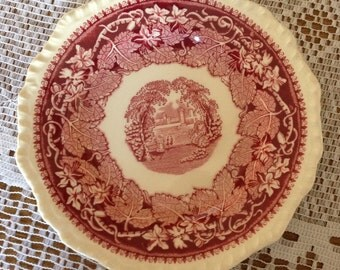 "Vintage Masons ""Vista""  Red Transfer ware Bread and butter Plate- England"