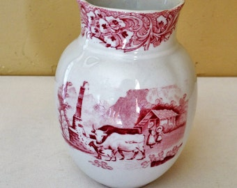 "Vintage Red Transfer Ware Vase Doulton's Switzerland-5 1/2"" tall"