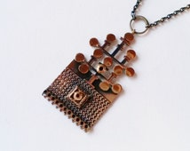 Large Vintage Bronze Necklace / Pendant and Chain by Pentti Sarpaneva, Finland (F252)