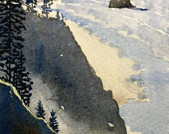 """Watercolour painting // Down the Coast // 7 x 3.5"""""""