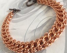 Copper Bracelet Men, Copper Chainmaille, Anniversary Gift for Man, Copper Chain Link Bracelet, Mens Metal Jewelry, Copper Gifts