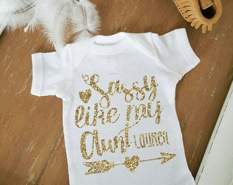 Sassy Like my Aunt Boho Gold Glitter New Aunt Baby Gift One Piece Baby Bodysuit Customize Color and Name