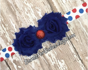 Petite Red White & Blue Shabby Chic Flower Headband, Patriotic Baby Headband, Infant Hair Bow, Toddler Elastic Headband, 4th of July Bow