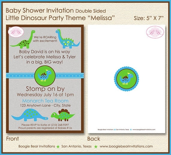 little dinosaur baby shower invitation party blue green boy girl 1st