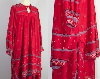 red festival dress, plus size dress, red mumu, festival clothing, Holiday Dress, 70s dress, size 14 dress, tribal print, long sleeve dress