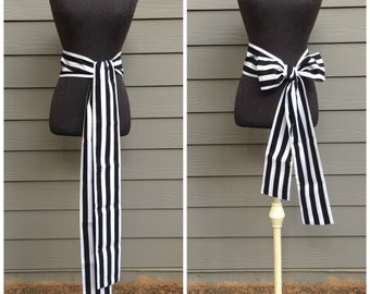 READY TO SHIP - Wide Cotton Pirate Sash - Black and White Striped - Costume Belt Tie