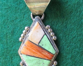 Vintage Navajo Inlaid Stone Sterling Necklace Pendant Signed RC - Free Shipping