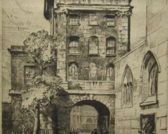 Gateway St. Bartholomew's Hospital Signed Etching By Herbert Reeve 1870-?