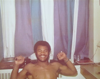 Hercules, Hercules - 1970's African American Black Man Shows His Muscles Snapshot Photo - Free Shipping