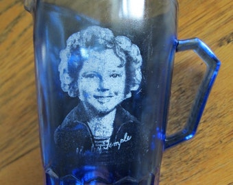 Vintage Shirley Temple Cobalt Blue Pitcher