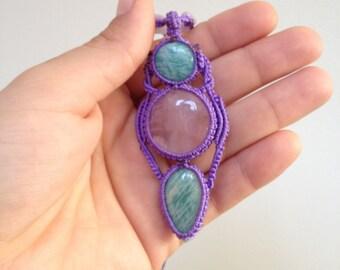 rose quartz amazonite macrame amulet