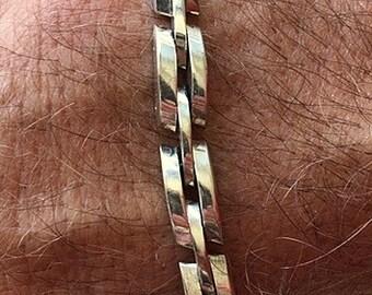 Oblong Links Bracelet - Vintage Sterling Silver  -  7 3/4 Inches  28.51 Grams