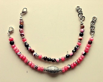 Layering Black and Rose Pink Agate,and  Black Rhinestone Bracelets - Cancer Awareness