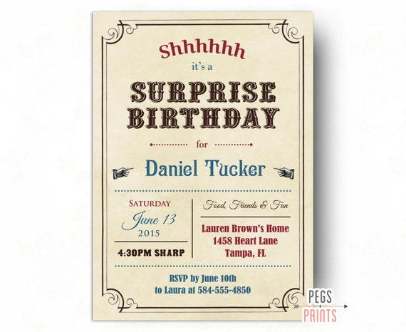Adult surprise birthday invites vintage surprise party invitation printable birthday - Invitation anniversaire surprise ...