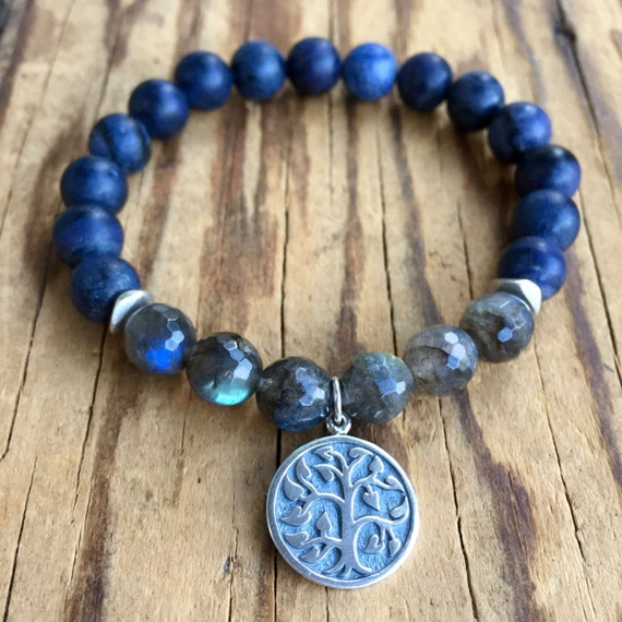 Sterling Silver Tree of Life Wrist Mala, Dumortierite, Labradorite Mala Bracelet, Unisex Yoga Jewelry, Gift with Meaning, Prayer Beads