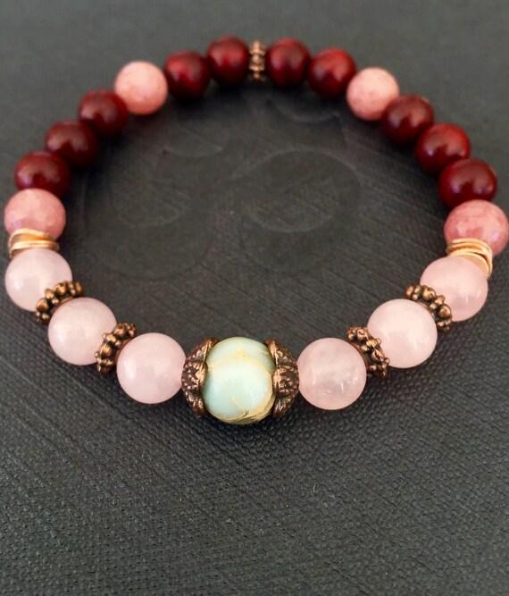 Wrist Mala Beads, Rosewood, Faceted Rhodolite, Rose Quartz, African Opal, Heart Chakra , Anahata Chakra, Evil Eye
