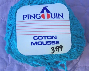 Pengouin cotton mousse, blue cotton thick and thin yarn, blue dk yarn, cotton dk yarn, blue cotton yarn, bright blue yarn, bright blue dk