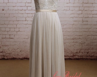 Backless Wedding Dress Sexy A-line Wedding Dress Special skirt Wedding Bridal Dress with Waistband